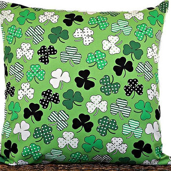 Shamrocks Pillow Cover Cushion St. Patricks Day Irish Kelly Green Black White Polka Dots Stripes St. Patricks Decor Decorative 18x18