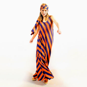 Airy Maxi Dress with Blue & Orange Strips (New Collection)