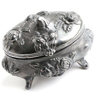 Antique Art Nouveau Flower Jewelry Casket Box - Edwardian Silver Plated Floral Metal Trinket Box Signed NB Rogers /  Rose Vines