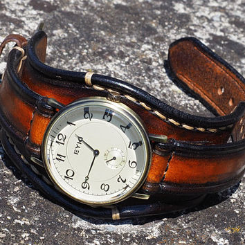 Handmade Leather Watch Strap, Unisex Leather Watch, Leather Watch Cuff, Vintage Leather Watch, Leather Strap