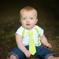 LIME Green Baby Bow Tie Outfit. Pick a Necktie or Bowtie. Bright Green or Lime. Polka Dot, Chevron. Toddler Boy Tie Shirt.