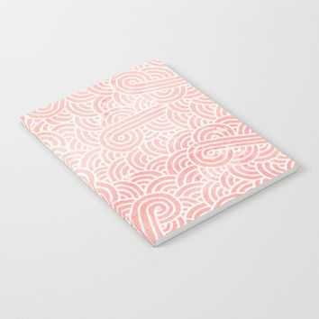 Rose quartz and white swirls doodles Notebook by Savousepate