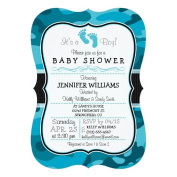 Blue Camo, Camouflage Baby Shower 5x7 Paper Invitation Card