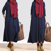Long Sleeve Loose Cotton Linen Maxi Dress