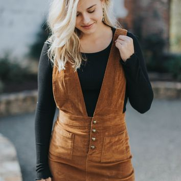 Corduroy Overall Dress, Camel