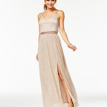 BCX Juniors' Illusion A-Line Gown | macys.com