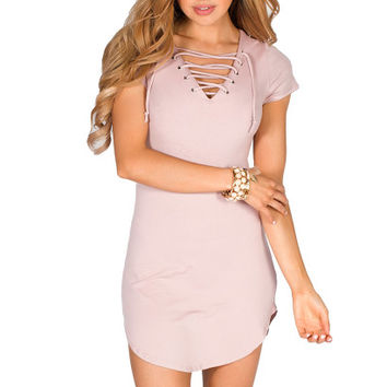 Livia Mauve Pink Short Sleeve Tunic Sexy Lace Up T Shirt Dress