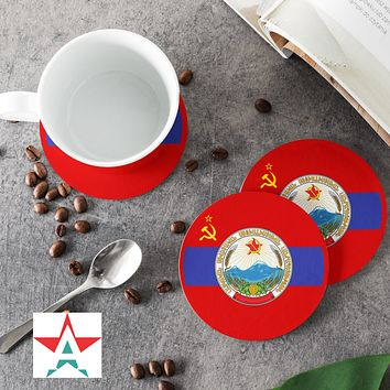 Armenian Soviet Socialist Republic with Coat of Arms Round Coasters (Set of 4 coasters)
