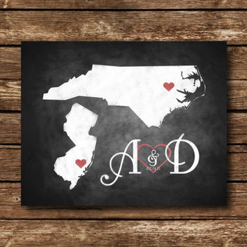 PERSONALIZED WEDDING Poster or sign - DIY States & Initials - Download and Print - Printable File
