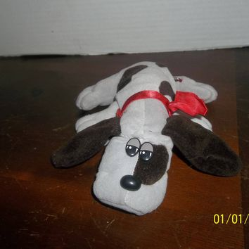 "vintage 1985 tonka pound puppies gray and brown puppy dog plush 9"" long"