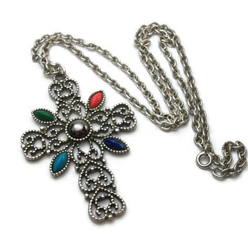 1970s Avon Romanesque Cross Pendant Necklace - Large Silver Tone Openwork Silver Filigree Cross Lucite Cabochons - Religious Gothic Jewelry