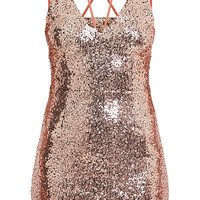 Lakyla Rose Gold Sequin Strap Detail Shift Dress | Dresses | PrettyLittleThing