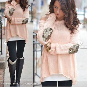 Winter Hollow Out Pullover Long Sleeve Irregular Knit Tops [8789839687]