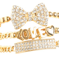 Rhinestone Bow Bracelet Set | Shop Jewelry at Wet Seal