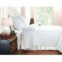 Ruffled White Quilt Queen Set With 2 Shams