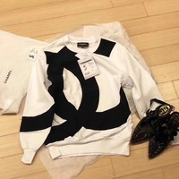 """Chanel"" Personality  Multicolor Letter Logo Long Sleeve Sweater Women Casual Pullover Tops"