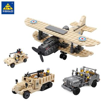 KAZI Military Building Blocks World War M2 Half Track Truck Hummer Army Car Airplane Fighter Model Bricks Toys for Child 8200134