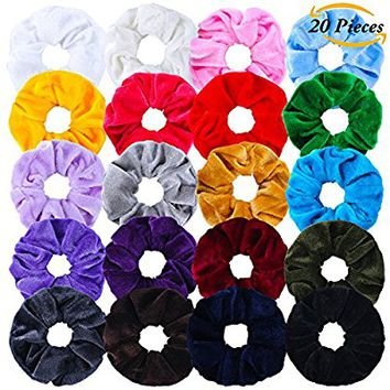 Aneco 20 Pieces Velvet Scrunchies Elastic Scrunchy Hair Bobbles Elastics Hair Ties Bands Hair Accessories, 20 Colors