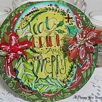 Eat,Drink,Be Merry Handmade Circular Christmas Card