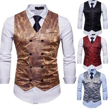 Men Double Breasted Suit Vest Paisley Floral Print Men Club Vest Waistcoat Slim Fit Party Wedding Dinner Clothes