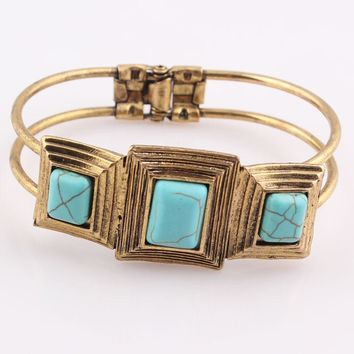Retro Vintage Tibetan Gold Square Turquoise Stone Bracelet Inlay Beads Bangle