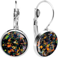 Handcrafted Black Faux Opal Splash Leverback Earrings