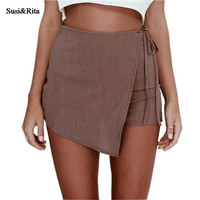 Susi&Rita Fashion High Waist Women Shorts  Casual Lace Up Asymmetric Skorts Women Disco Skort Shorts pantalon femme
