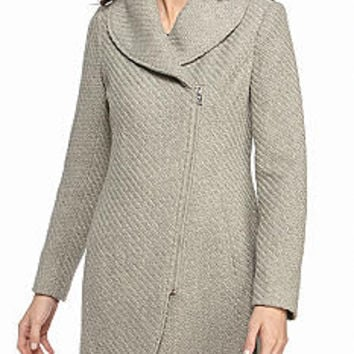 Jessica Simpson Asymmetrical Zip Braided Wool Walker with Shawl Collar