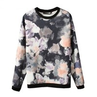 Retro Women's Loose Cotton Fleece With Ink Printing Flower Patterns