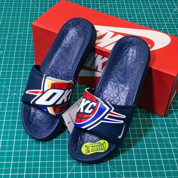 Nba X Nike Benassi Solarsoft Slide Blue Sandals - Sale ef7909ca6