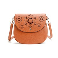 AUHWONE Famous Brand Vintage Leather Satchel Hollow Out Crossbody Bag