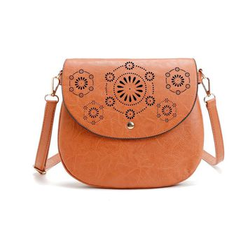 AUHWONE Famous Brand Women Bags Fashion Women Lady Vintage Leather Satchel Hollow Out Handbag Ladies Shoulder Bag