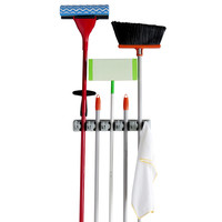 Evelots Mop And Broom Holder 5-Position Wall Mounted Garden Rack Storage Tool