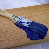 "Fake Puddle Blue Paint on a 1"" Paintbrush Spill Fun Gag Prop"