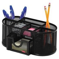Rolodex Steel Mesh Pencil Cup Organizer with Eight Compartments - Black : Target