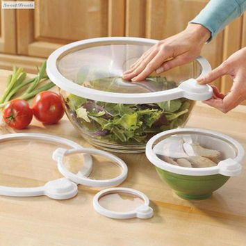 ac NOOW2 Smart Lids - Vac Seals Microwaveable Lids - 4 Pack Lid-bowl Pan Cooking Pot Stretch Cover Kitchen Pan Spill Lid Stopper Cover