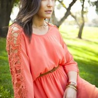 Hopeless Romantic Crochet Sleeve Blouson Dress in Coral | Sincerely Sweet Boutique