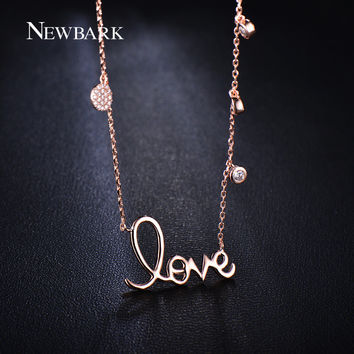 NEWBARK Sale Rose Gold Plated Romantic Letter Love Pendant Necklace Paved Micro AAA CZ Simulated Diamond Women Jewelry Gifts