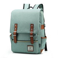 Vintage Solid Women Backpack Large Men Canvas Backpacks Preppy Style Rucksacks Female Satchel Laptop Bag for Teenage Girls L162