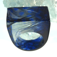Resin Ring Stormy Blue Monday Resin Feather Ring - Moody & Beautiful! Made in the USA! ResinHeavenUSA