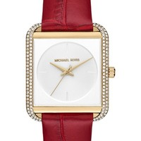 MICHAEL Michael Kors Lake Crystal Leather Strap Watch, 32mm x 39mm | Nordstrom