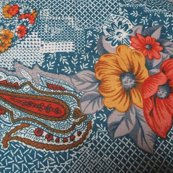 1970s Vintage Poly Rayon Blend Dress Making Fabric, Paisley & Floral Print in Blue, Orange, Marigold, BY the YARD, 44 In. Home Sew Fabric