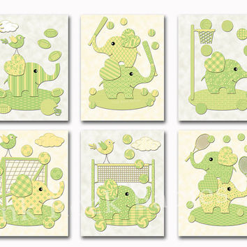 Green yellow elephants nursery wall art baby boy room decor sport poster kids decoration baseball soccer basketball football toddler artwork
