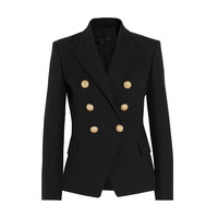HIGH QUALITY New Fashion 2016 Runway Style Women's Gold Buttons Double Breasted Blazer Outerwear Plus size XS-XXL