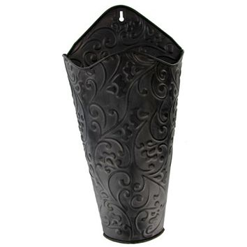 "16 3/4"" Black Scroll Wall Container 