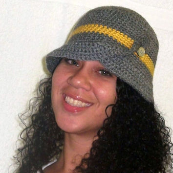Grey Mustard Cloche Hat Crochet Beanie Split Brim by krochetlady