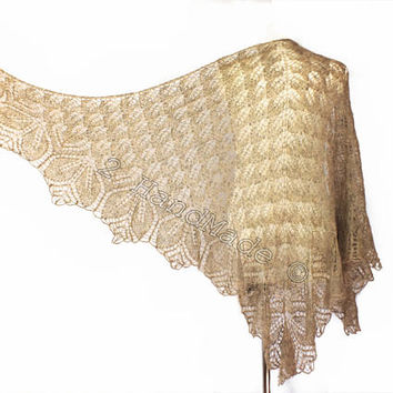 Lace Knit Triangular Golden Brown Shawl Wrap Mohair Wool Fall Boho Handmade Wedding Scarf Fashion Woman Lady Collar Casual Infinite