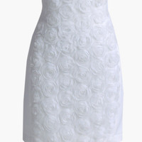 White Floral Lace High-Waisted Bodycon Mini Skirt