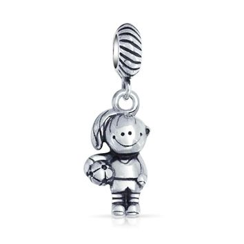Soccer Daughter Ball Football Sport Charm Bead 925 Sterling Silver