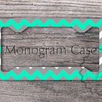 Personalized License Plate Frame - Mint and Gray chevron, monogrammed front license frame, cute car tag - 107